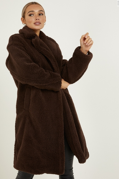 Brown Oversized Teddy Bear Coat